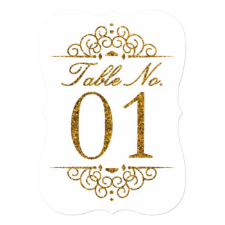Gold Glitter Effect Wedding Table Number Card (01)