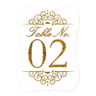 Gold Glitter Effect Wedding Table Number Card (02)