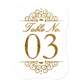 Gold Glitter Effect Wedding Table Number Card (03)