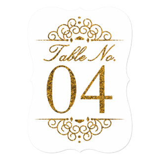 Gold Glitter Effect Wedding Table Number Card (04)