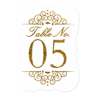 Gold Glitter Effect Wedding Table Number Card (05)