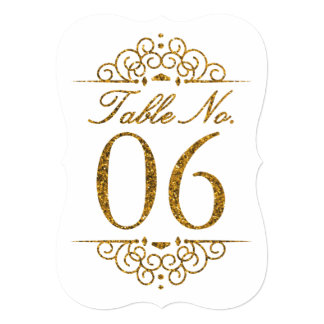 Gold Glitter Effect Wedding Table Number Card (06)