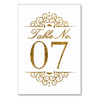 Gold Glitter Effect Wedding Table Number Card (07)