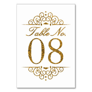 Gold Glitter Effect Wedding Table Number Card (08)