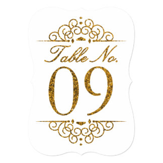 Gold Glitter Effect Wedding Table Number Card (09)