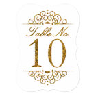 Gold Glitter Effect Wedding Table Number Card (10)