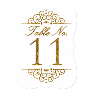 Gold Glitter Effect Wedding Table Number Card (11)