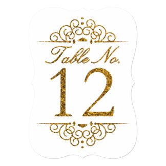 Gold Glitter Effect Wedding Table Number Card (12)