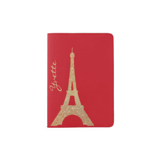 Gold Glitter Eiffel Tower Passport Holder