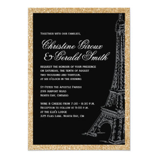 Gold Glitter Eiffel Tower Wedding Invitations