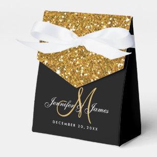 Gold Glitter Elegant Wedding Favor Box