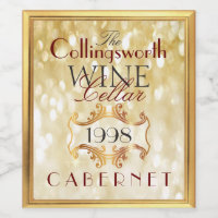 Gold Glitter Elegant Wine Label Personalized