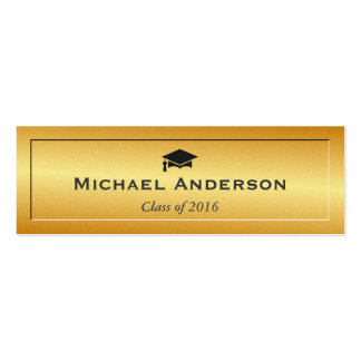 Gold Glitter Embossed Senior Graduation Name Card Double-Sided Mini Business Cards (Pack Of 20)