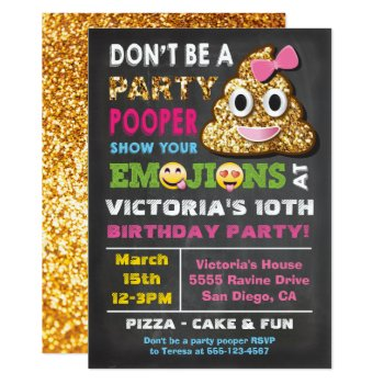 Gold Glitter Emoji Party Pooper Girl Birthay Card by McBooboo at Zazzle