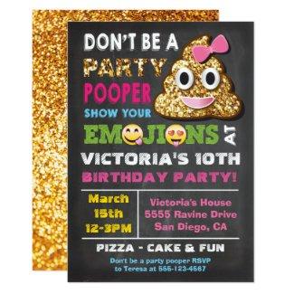 Gold Glitter Emoji Party Pooper Girl Birthay Invitation