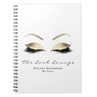 Gold Glitter Eyes Makeup Beauty White Name Notebook