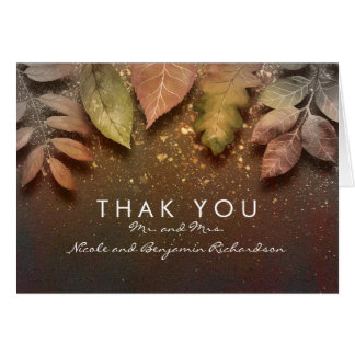 Gold Glitter Fall Leaves Vintage Wedding Thank You