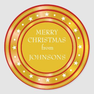 Gold Glitter Family Christmas Greetings Classic Round Sticker