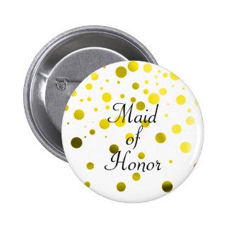 Gold Glitter Faux Foil Confetti Dots Maid of Honor Button