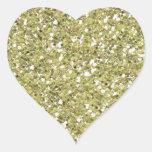 Gold Glitter (Faux) Heart Sticker