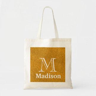 Gold glitter faux personalized monogram tote bag