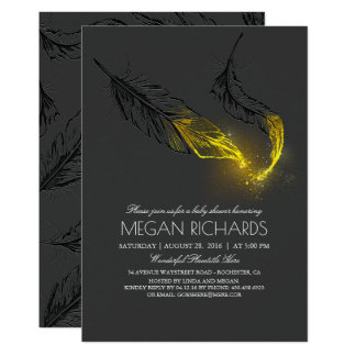 Gold Glitter Feathers Elegant Baby Shower Card