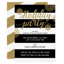 Gold Glitter Festive holiday Party Card