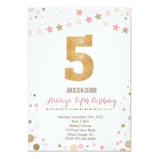 Gold Glitter Fifth Birthday Invitation
