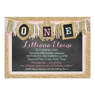 "Gold Glitter First Birthday Banner 5"" X 7"" Invitation Card"