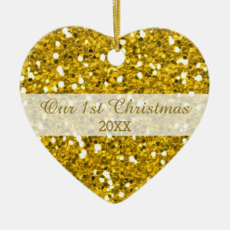 Gold Glitter First Christmas Couple Photo Ceramic Ornament