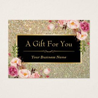 Gold Glitter Floral Beauty Salon Gift Certificate