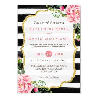 Gold Glitter Floral Black White Stripes Wedding Card