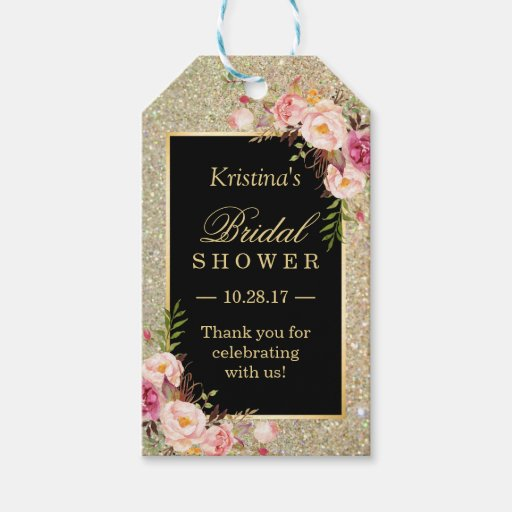 Thank You Wedding Shower Gift : Gold Glitter Floral Bridal Shower Thank You Gift Tags Zazzle