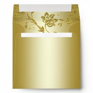 Gold Glitter Floral Envelope for Square Invitation envelope