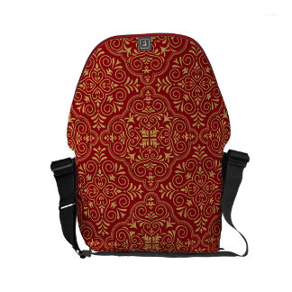 Gold Glitter Floral Pattern Moroccan Motive Small Messenger Bag
