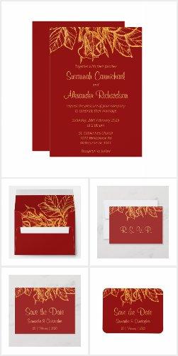 Gold Glitter Floral Sparkles Red Wedding