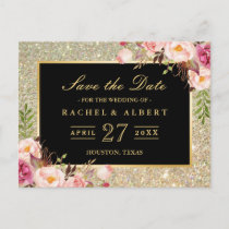 Gold Glitter Floral Wedding Save the Date Announcement Postcard