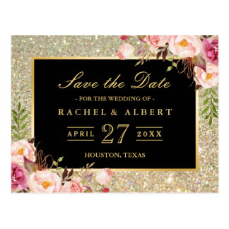 Gold Glitter Floral Wedding Save the Date Postcard