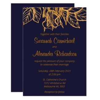 Gold Glitter Florals Dark Blue Wedding Invitation