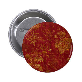 Gold Glitter Flowers Red Background Pinback Buttons