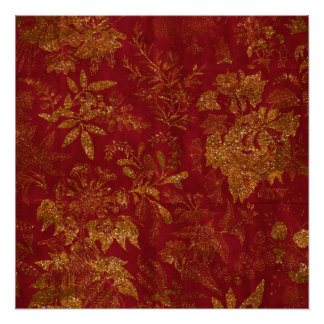 Gold Glitter Flowers Red Background Poster