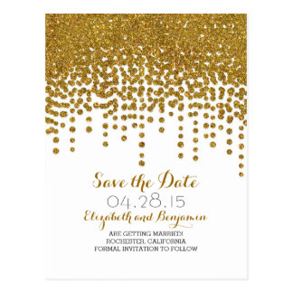 Gold Save The Date Postcards | Zazzle