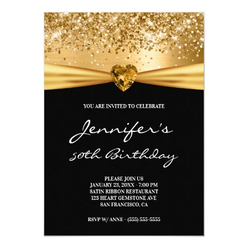 Gold Glitter Foil Gem Heart 50th Birthday Invitation