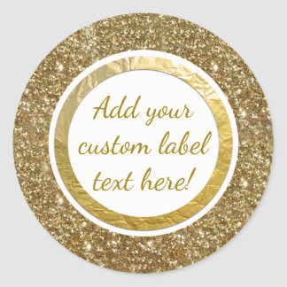 Gold Glitter Foil Print Custom Craft Favor Wedding Classic Round Sticker