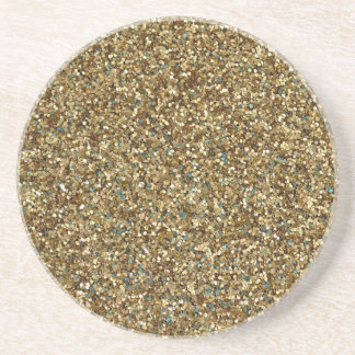 GOLD GLITTER ~ for Holidays or Every Day! Sandstone Coaster