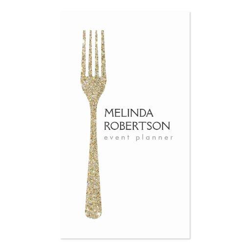 Gold Glitter Fork Event Planner Business Card
