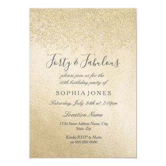 Gold Glitter Forty and fabulous 40th birthday Card