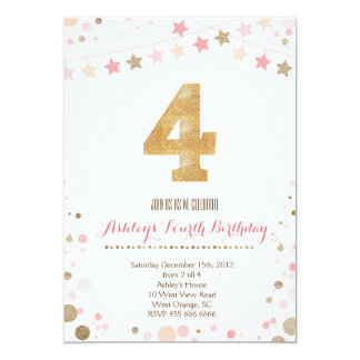 Gold Glitter Fourth Birthday Invitation