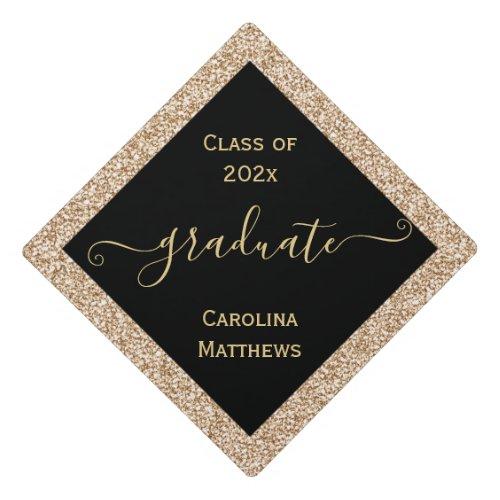 Gold Glitter Frame Graduation Cap Topper
