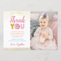 Gold Glitter Girl Donut Birthday Photo Thank You